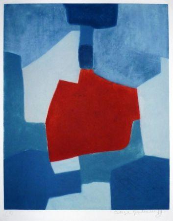 Grabado Poliakoff - Composition bleue et rouge