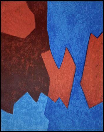 Litografía Poliakoff - Composition Bleue et Rouge