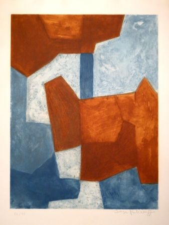 Aguafuerte Y Aguatinta Poliakoff - Composition bleue et rouge / Komposition in Blau und Rot