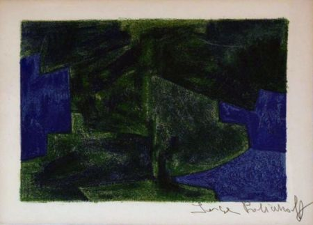Litografía Poliakoff - Composition bleue et verte n°41