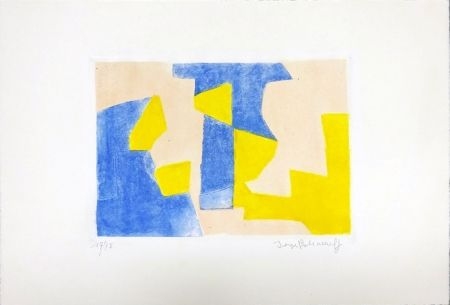 Aguafuerte Y Aguatinta Poliakoff - Composition Bleue rose et jaune
