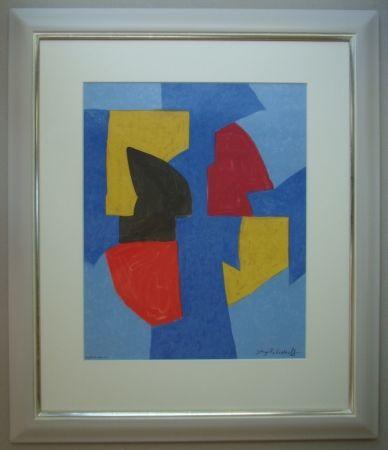 Litografía Poliakoff - Composition bleue, rouge et jaune