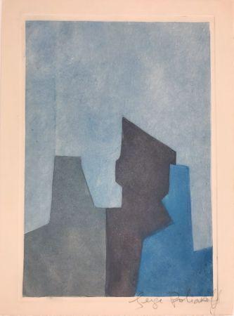 Aguafuerte Y Aguatinta Poliakoff - Composition bleue XXIV