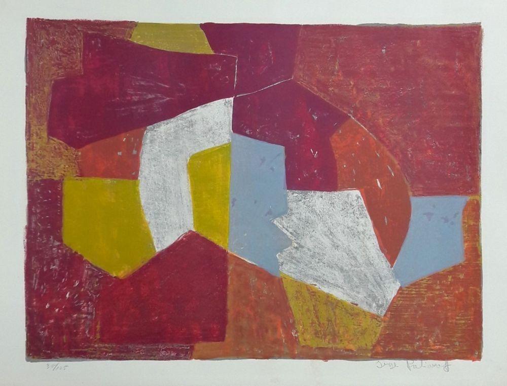 Litografía Poliakoff - Composition Carmin, Brune, Jaune et Grise