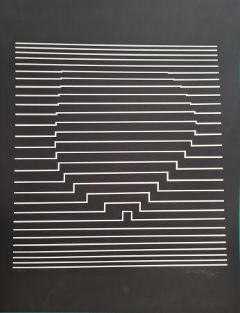 Serigrafía Vasarely - COMPOSITION CINETIQUE NOIRE ET BLANCHE