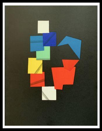 Litografía Agam - Composition couleurs sur fond noir