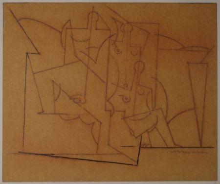 Monotipo Marcoussis - Composition cubiste / Kubistische Komposition (Mann und zwei Frauen).