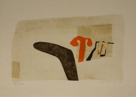 """Litografía Bissier - Composition (""""die Dinge des Lebens verlieren ihre Namen…"""")."""