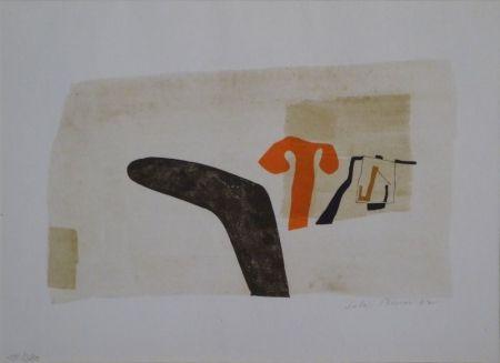 """Litografía Bissier - Composition (""""die Dinge des Lebens verlieren ihre Namen…"""")"""