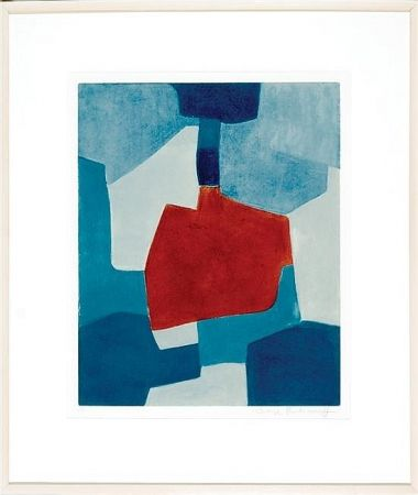 Aguatinta Poliakoff - Composition en blue and rouge