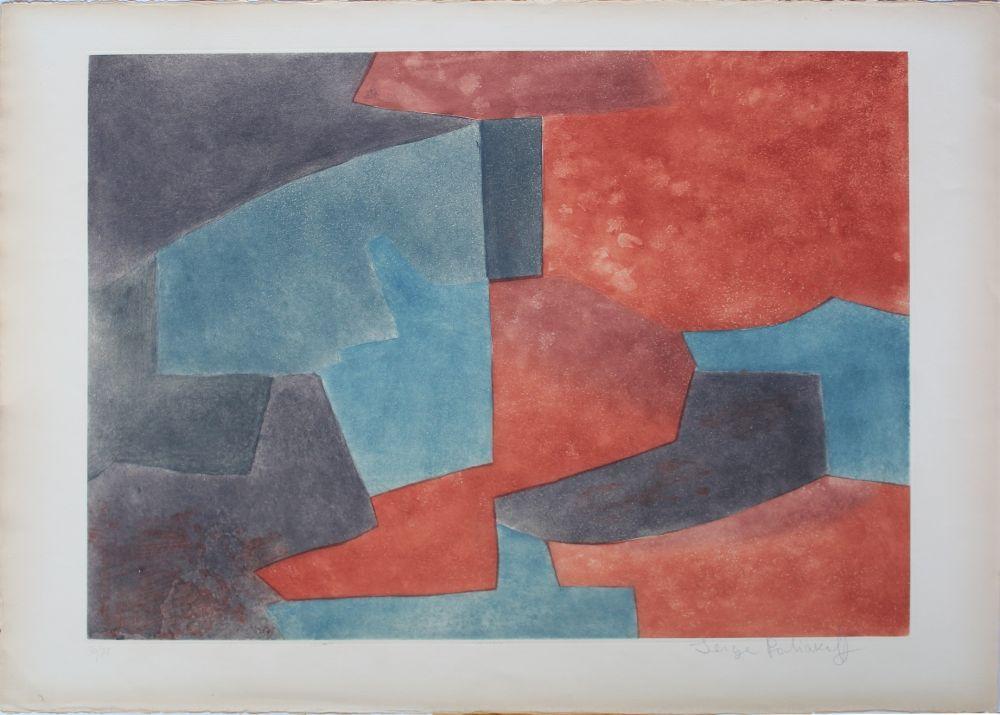 Aguatinta Poliakoff - Composition En Gris, Bleu Et Rouge