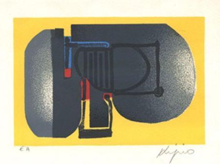 Litografía Kijno - Composition fond jaune