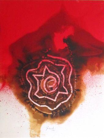 Litografía Jaccard - Composition fond rouge