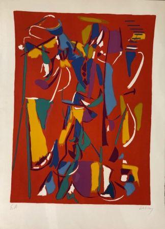 Litografía Lanskoy - Composition fond rouge