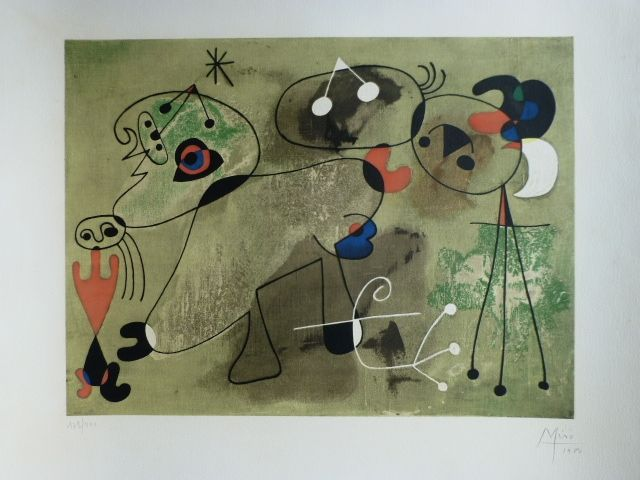Litografía Miró - Composition fond vert