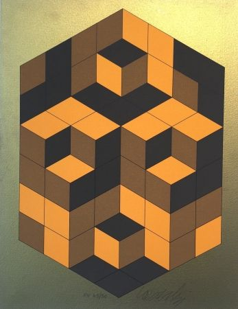 Serigrafía Vasarely - Composition Gold