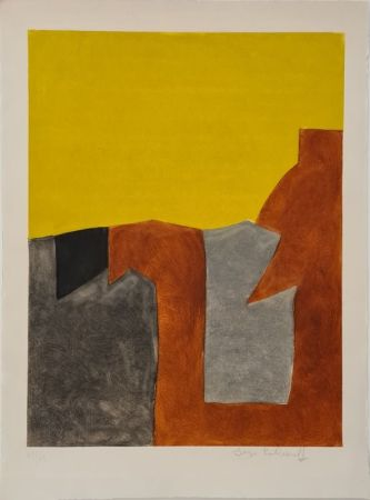 Aguafuerte Y Aguatinta Poliakoff - Composition grise brune et jaune IX