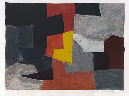 Litografía Poliakoff - Composition grise rouge et jaune
