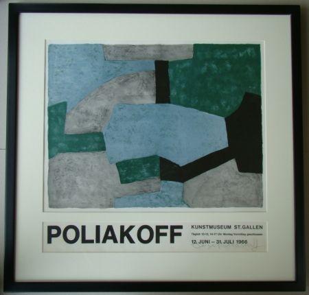 Litografía Poliakoff - Composition grise, verte et bleue