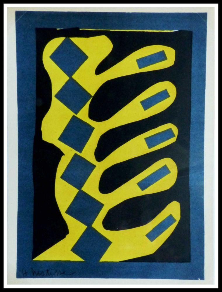 Litografía Matisse - COMPOSITION  JAUNE BLEU ET NOIR