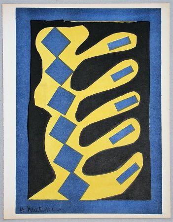 Litografía Matisse - Composition Jaune, Bleu Et Noire, 1947