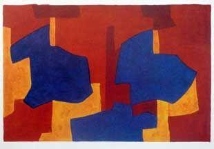 Litografía Poliakoff - Composition jaune bleue et rouge