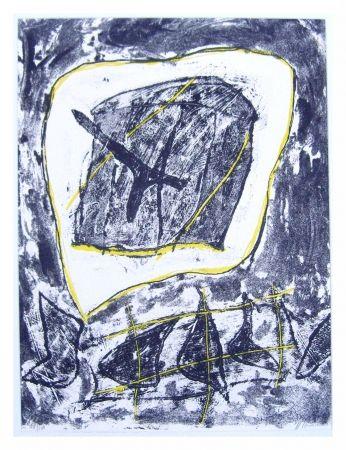 Litografía Humair - Composition jaune et noire 1