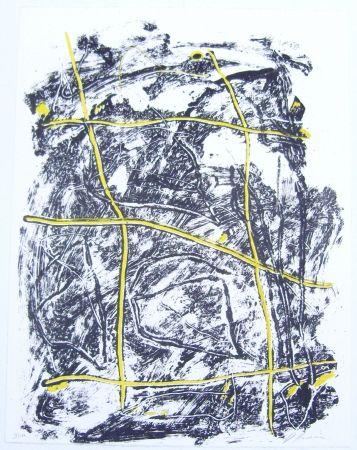 Litografía Humair - Composition jaune et noire 2