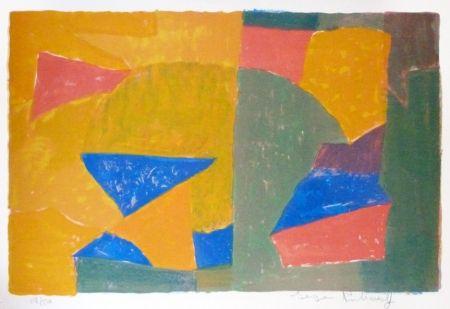 Litografía Poliakoff - Composition jaune, verte, bleue et rouge