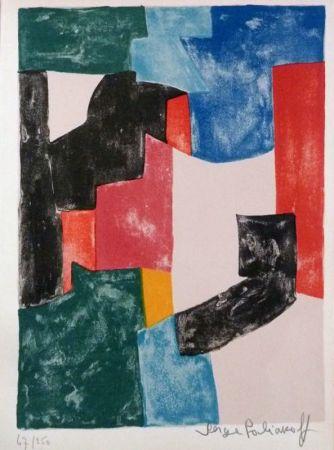 Litografía Poliakoff - Composition noir, bleu et rouge