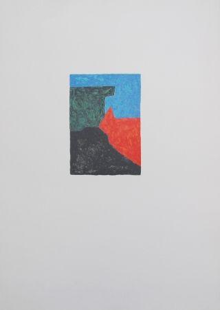 Litografía Poliakoff - Composition noire, bleue et verte