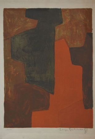 Litografía Poliakoff - Composition Orange et verte n°43