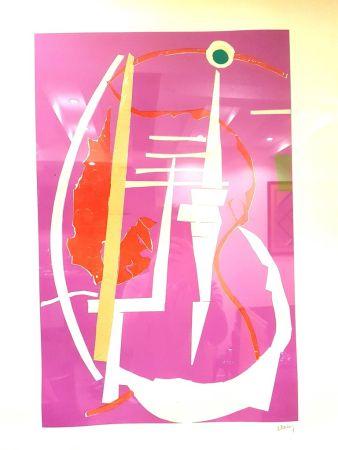 Litografía Lanskoy - Composition Rose Abstraite