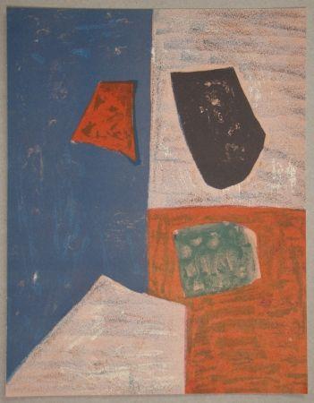 Litografía Poliakoff - Composition rose, rouge et bleue