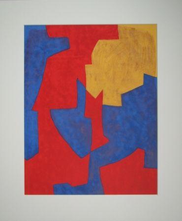 Litografía Poliakoff - Composition rouge, bleue et jaune