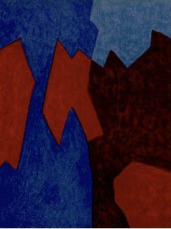 Litografía Poliakoff - Composition rouge et bleu