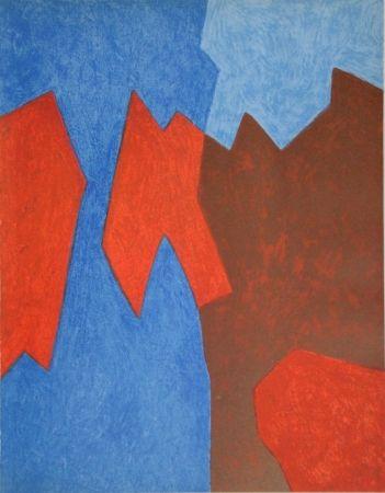 Litografía Poliakoff - Composition rouge et bleue