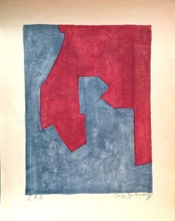Litografía Poliakoff - Composition Rouge et Bleue n°49