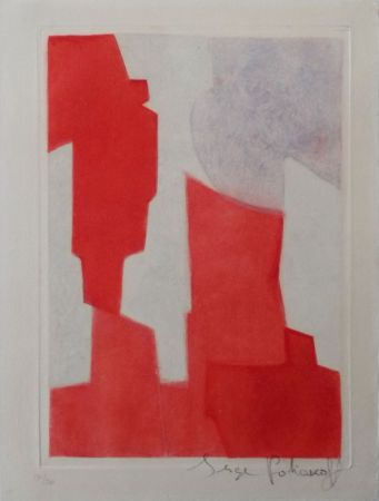 Aguafuerte Y Aguatinta Poliakoff - Composition rouge et bleue n°XX