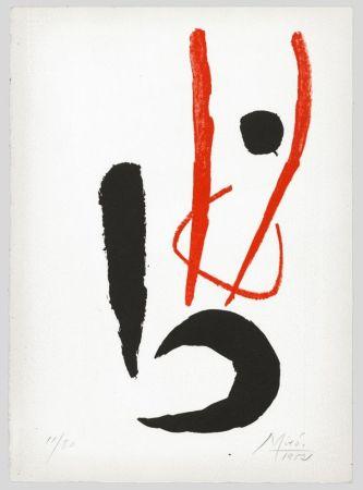 Litografía Miró - Composition rouge et noire (Danseur / Dancing figure) 1952