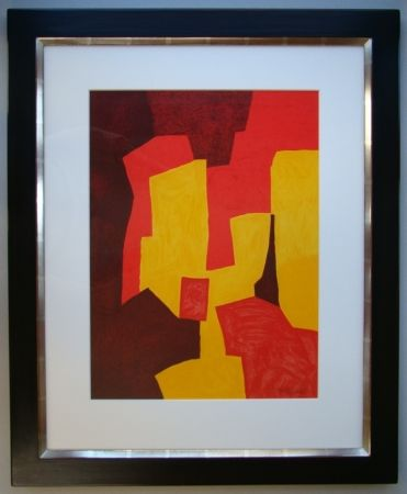 Litografía Poliakoff - Composition rouge, jaune et brune