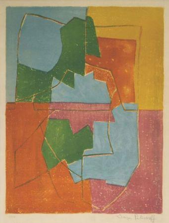 Litografía Poliakoff - Composition Rouge Verte Bleue et Jaune n°12