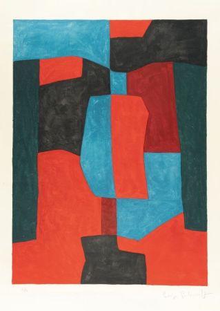 Litografía Poliakoff - Composition rouge, verte et bleue n°76