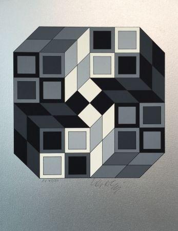 Serigrafía Vasarely - Composition Silver