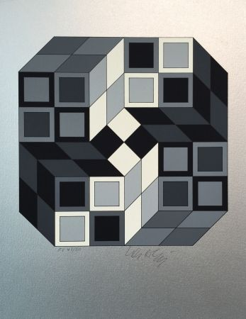 Serigrafía Vasarely - Composition Silver