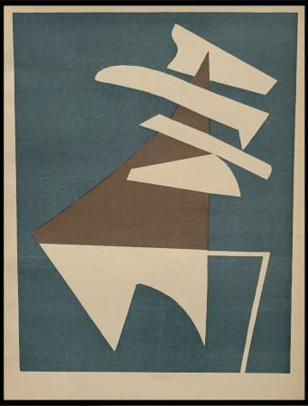 Litografía Magnelli - Composition sur fond bleu