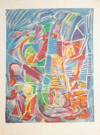 Litografía Lanskoy - Composition sur fond bleu