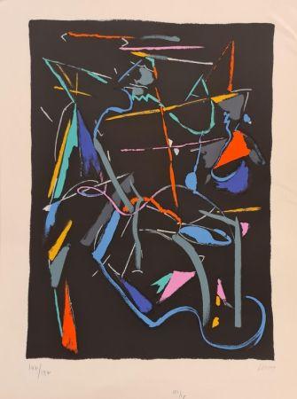 Litografía Lanskoy - Composition sur fond Noir