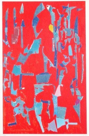 Litografía Lanskoy - Composition sur fond rouge