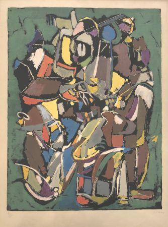 Litografía Lanskoy - Composition sur fond vert